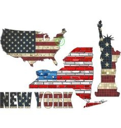 Usa state of new york on a brick wall vector