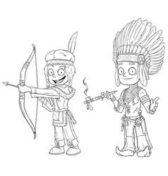 Cartoon indian chief young warrior character set vector