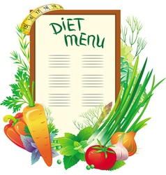 diet menu with a group of vegetables vector image vector image