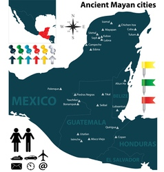 Map of the Mayan cities vector image vector image