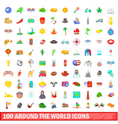 100 around the world icons set cartoon style vector image
