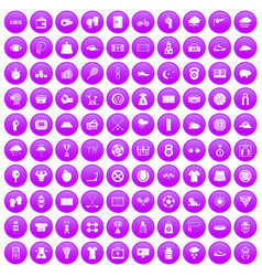 100 tennis icons set purple vector