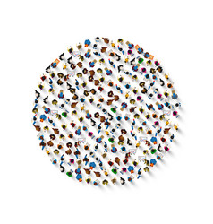 a group people in a shape circle icon vector image