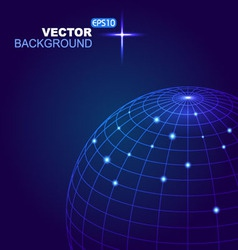 Abstract 3d sphere with blue lines and white dot vector image