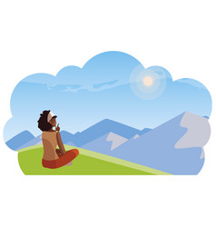 Afro woman contemplating horizon in field vector