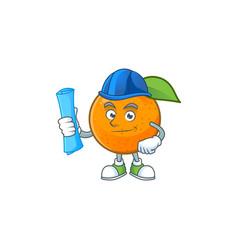 architect sweet orange cartoon mascot for juice vector image