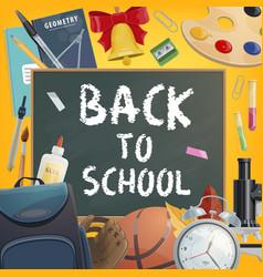 back to school chalk blackboard poster vector image