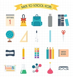 Back to school School and education icons Welcome vector image