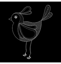 Bird Coloring page with zentangled bird vector