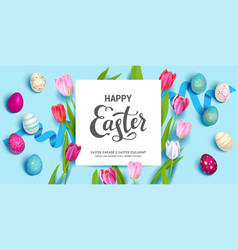 blue easter holiday banner vector image