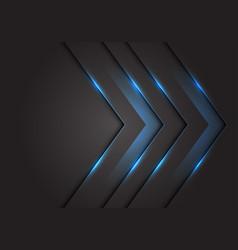 Blue light 3d arrow direction on dark grey vector