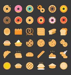 bread donut pie bakery product flat icon set vector image