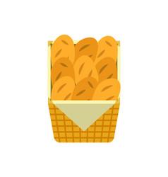 bread loaves in wicker basket at market in shop vector image