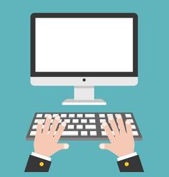 Business hand with blank screen desktop computer vector