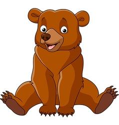 Cartoon happy bear sitting vector