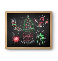 chalk drawn christmas set on blackboard vector image