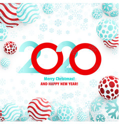 Christmas balls background with 2020 new year vector