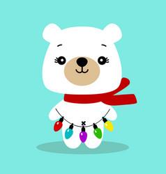 christmas card polar bear bear with a garland vector image