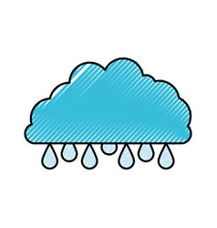 Cloud with raindrops colored crayon silhouette vector