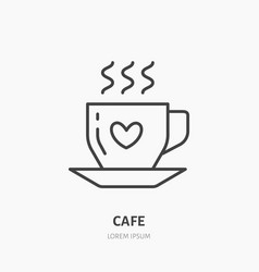 coffee cup flat line icon cafe linear logo vector image