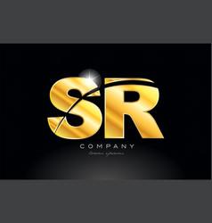 Combination letter sr s r gold golden alphabet vector