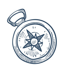 compass isolated sketch marine navigation nautical vector image