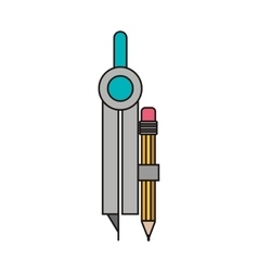 Compass with pencil vector