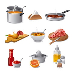 cooking food icon set vector image