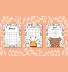 cute calendar with animals and flowers vector image