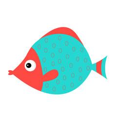 cute cartoon fish icon set isolated bakids vector image