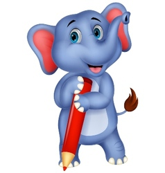 Cute elephant cartoon holding red pencil vector