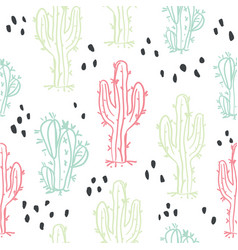 Cute hand drawn cactuses and succulents pattern vector
