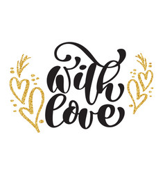 decorative text with love calligraphic christmas vector image