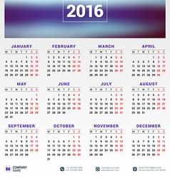Design Print Template Calendar for 2016 Year Week vector