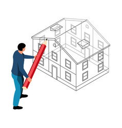 Drawing house isometric composition vector