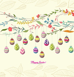 Easter eggs background with flowers vector