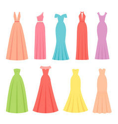 evening dresses for women female textile flat vector image