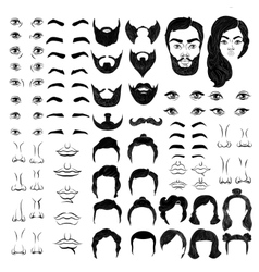 Faces Monochrome Constructor vector image