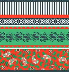 Folk floral red and green seamless pattern vector