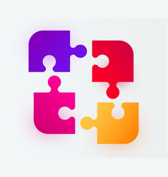four piece puzzle solution concept modern design vector image
