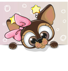 Greeting card cute cartoon dog vector