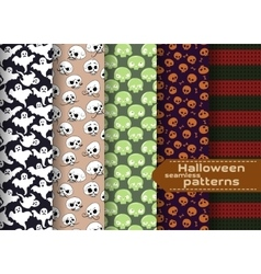 halloween patterns set vector image