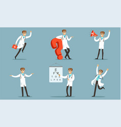 handsome doctor character in daily diagnostic work vector image