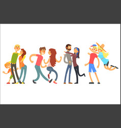 happy life moments family with kid dancing and vector image