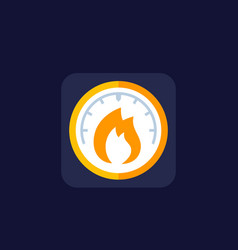 Heat level meter icon flat vector