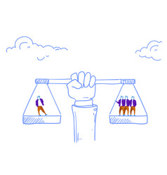 human hand holding balance scales business vector image