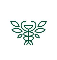 hygiea bowl caduceus leaf pharmacy medicine vector image
