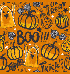 ink hand drawn seamless pattern with halloween vector image