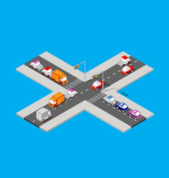 isometric traffic intersection vector image