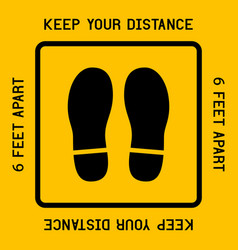 Keep your distance with footprint shoe shape vector